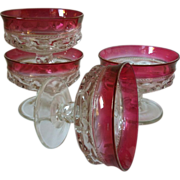 SALE Tiffin / Franciscan Kings Crown Ruby Flashed Sherbets set of 4