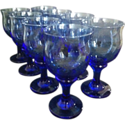 SALE 8 Clarion Mediteranian Blue Water Goblets by Libbey