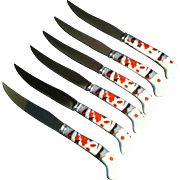 6 Mandarin Steak Knives ~ Prill ~Sheffield England