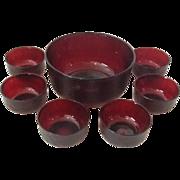 SALE Ruby Glass Large Salad Bowl set of 7