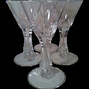 4 Seneca  Crystal Maytime # 164 Wine Glasses