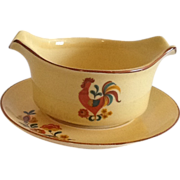 SALE Red Reveille Rooster Gravy Boat & Underplate Taylor Smith &Taylor