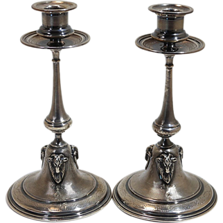 French 950 Standard Silver Pair of Guilloche Candlesticks Rams Heads 20th century