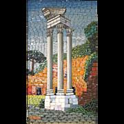 SOLD Italian Micro Mosaic Plaque Roman Forum Columns w/Gilt Wood Frame mid 20th century