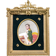 Antique Empire Style Gilt Bronze Frame Napoleon I Painted Plaque circa 1880