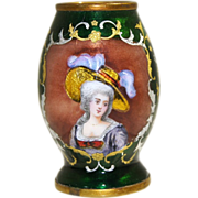 SOLD French Limoges Painted Enamel Bud Vase Portrait of Young Lady late 19th century