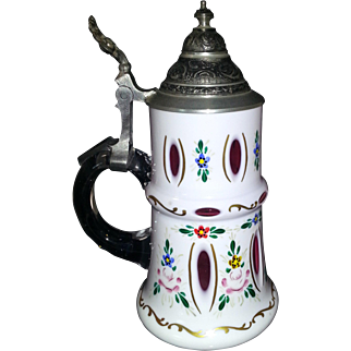 Bohemian Moser Style Cranberry Glass Painted Beer/Drink Stein Metal Cover 20th century