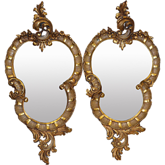 Pair of Venetian Rococo style Gilt Wood Carved Mirrors Italy Circa 1900