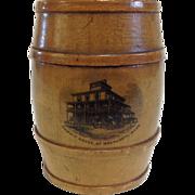 19th Century Scottish Mauchline Ware Barrel Bank, summit House, Mt Wachusett, Mass.