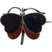 RARE Edwardian Scottish Agate & Sterling Butterfly Brooch, Circa 1908-09