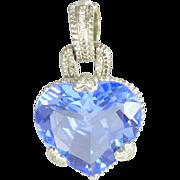 SALE Vintage Blue Quartz Diamond & 18kt White Gold Heart Pendant