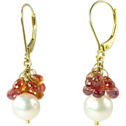 SALE Fabulous Vintage Orange Sapphire Cultured Pearl & 18kt Gold Drop Earrings