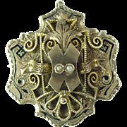 SALE Antique Seed Pearl Taille D'Epargne Enamel & 12kt Gold Pendant/Brooch