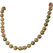 1980s Unakite Bead & 14kt Gold Necklace