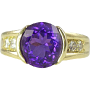 Magnificent Tiffany & Co. Mid-Century  Amethyst Diamond & 18kt Gold Cocktail Ring
