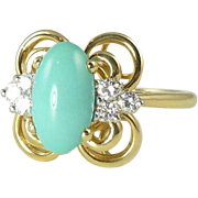 Vintage Turquoise Diamond & 18kt Gold Cocktail Ring