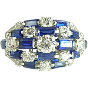 Magnificent 1960s Tiffany & Co. Sapphire Diamond & Platinum Cocktail Ring