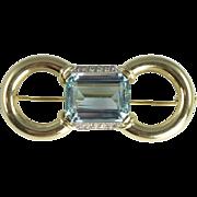 SALE Magnificent Mid-Century 15.0ct Aquamarine Diamond & 14kt Gold Brooch