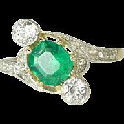 Magnificent Edwardian Natural Emerald, Diamond, Platinum & 14kt Gold Ring