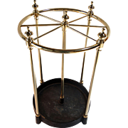 Round English umbrella stand with cast iron base