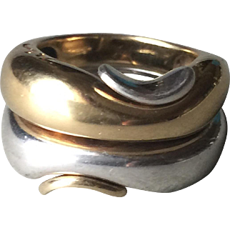 Georg Jensen Sterling Silver and 18KT Gold Puzzle Ring by Minas Spiridis