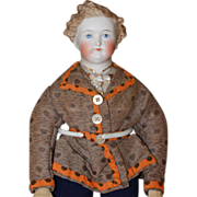 ALL ORIGINAL  Dresden Gentleman Antique Parian Doll China Doll