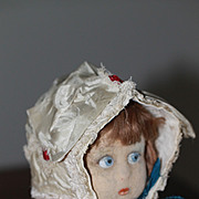 Antique Bonnet w/ Lace and Rosettes for French or German Bisque Doll