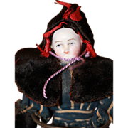 Antique Velvet Cape, Bonnet and Muff Early for Small China, Bisque Doll