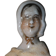 EARLY Bonnet Head Doll House China Doll 1840