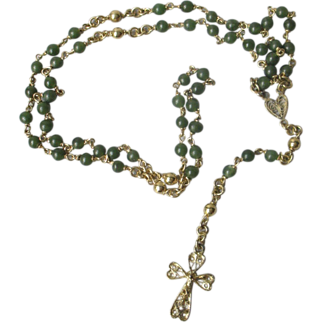 Vintage Art Deco French Solid Silver and  Gold Plated Rosary