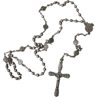 Vintage Art Deco French Solid Silver Rosary dated 1938