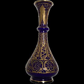 Antique Art Nouveau Cameo Glass Vase Galvanoplastie 1910 Léon Ledru Val Saint Lambert Belgium Gold and Blue