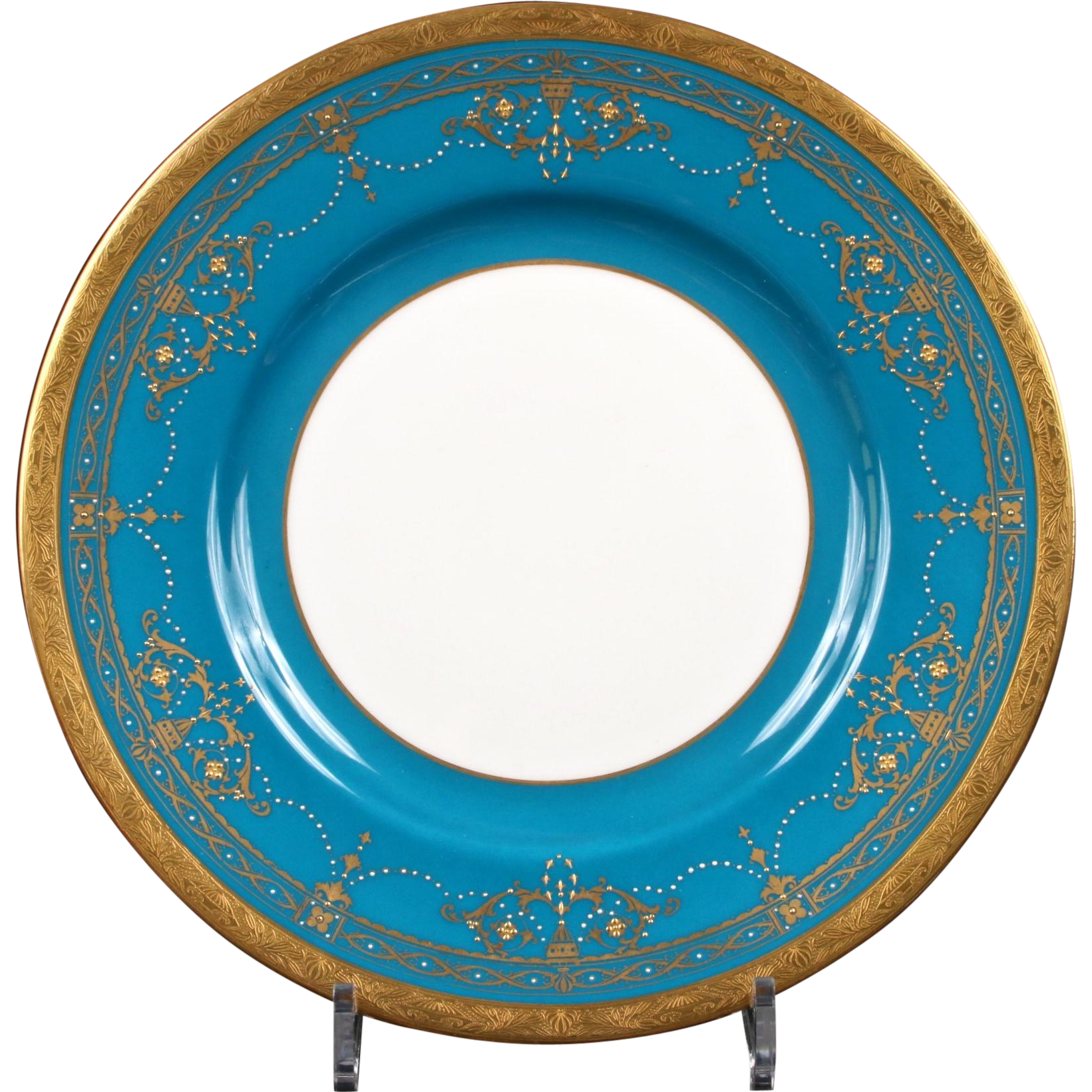 10 Teal Minton Neoclassical Plates from gildedagedining on ...