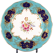 12  Coalport for Tiffany Dinner Plates:Turquoise and Cobalt, Hand Painted and Artist-Signed