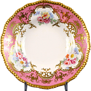12 Hand-Painted Pink Soup Plates, Bernardaud, Limoges, France
