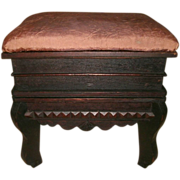 SOLD Southern Folk Art Tramp Art Chip Carved Footstool With Hinged Lid