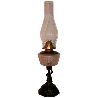 Superb Antique Victorian Oil Lamp w/ Embossed Frosted Font & Elaborate Figural Cast Iron Base