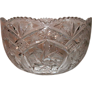 """SALE 9"""" Brilliant Period Cut Glass Bowl - Sawtooth Border, Scalloped Top, Pinwheel, Pineapple & Star Pattern - Ex. Condition"""