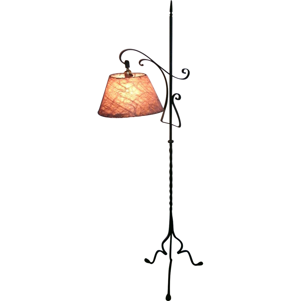 vintage wrought iron gothic arts crafts bridge floor lamp with from. Black Bedroom Furniture Sets. Home Design Ideas
