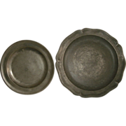 SOLD Antique English Pewter Plate & Charger W/ Scalloped Border - Both Pieces Signed / Mar