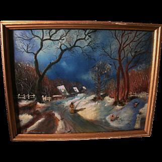 REDUCED Beautiful Mixed Medium Painting Russian Village Winter Scene by Igor Soben 1981
