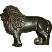 SOLD Vintage Cast Iron Figural Lion Still Bank - Nice Detail with Traces of Original Gilt Pain