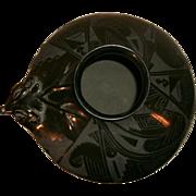 REDUCED Vintage Beautiful Rare Black On Black Native American Southwest Pueblo Elk Head Effigy