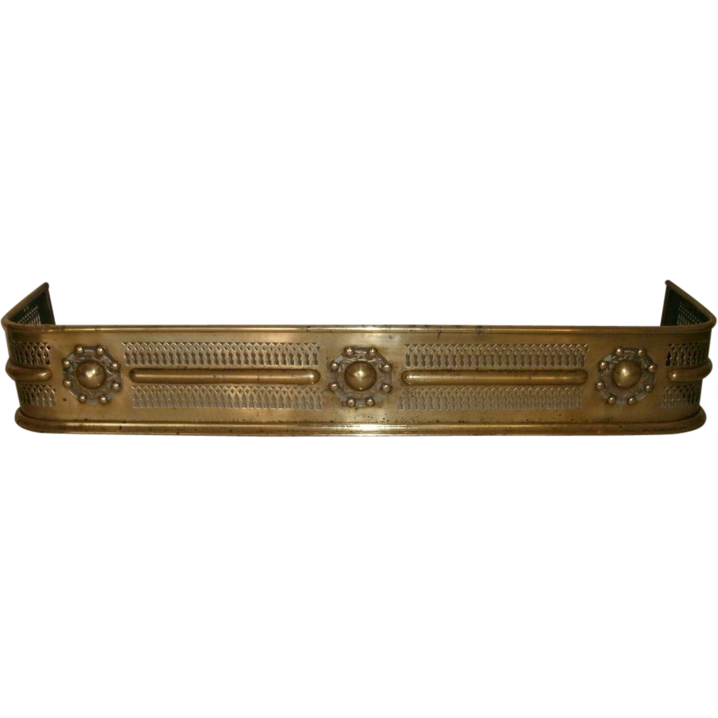 9th Century Antique Brass Fireplace Fender With Elaborate Pierced Decorative Cut Out Work And