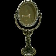 19th C. Antique Art Nouveau Figural Lady Cast Iron Vanity / Make-up / Table / Shaving mirror .