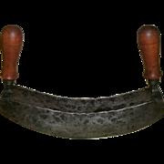 Rare 18th Century Folky Hand Wrought Iron Double Blade Mezzaluna Half Moon Herb / Food Chopper