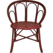 "Antique Shabby Chic Rattan ""Barrel Back"" Accent Chair in Old Red Paint - Circa 1900-"