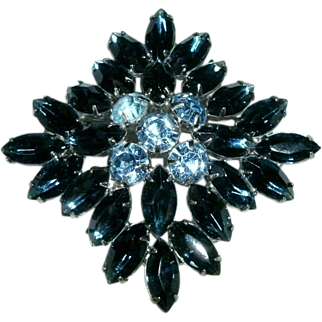REDUCED Large Tiered Vintage Sapphire & Ice Blue Marquis Rhinestone Brooch - 1940's - 50's