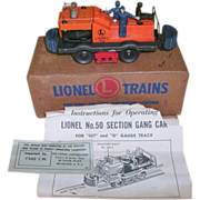 SOLD Vintage Lionel NO. 50 Section Gang Car in Original Box and Paperwork - Circa 1950's