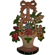 SOLD Exceptional Antique Cast Iron LILLIES OF THE VALLEY Floral Basket Doorstop in Beautiful O